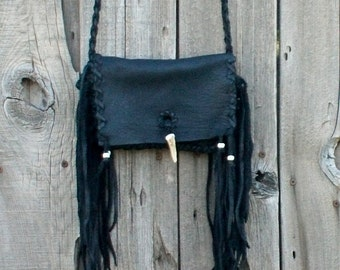 black clutch purse , fringed leather clutch , black shoulder bag , boho style leather bag , mountain woman , free spirit