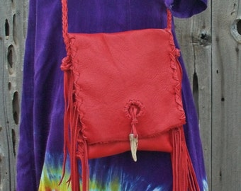 Soft red leather handbag , Red leather crossbody bag , Red leather purse , Boho handbag , Leather phone bag , Fringed purse