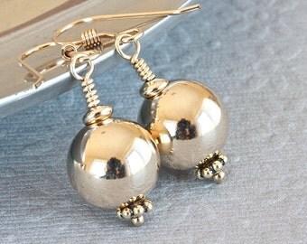 Gold Ball Earrings, Gold Dangle Earrings, Gold Filled Earrings, Wire Wrapped Jewelry, Gold Drop Earrings for Her, Gold Earrings for Women