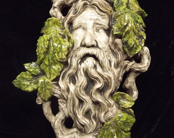 Greenman Wall Plaque Medieval Leave Forest Man Celtic Woodland Nature Indoor Home Decoration Renaissance Pagan Deity Leaf Branch Twig Face
