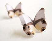 Paper Earrings - Unique Stud Earrings - White Butterfly Wing Jewelry - Aretes Mariposa - Sterling Silver Stud Earrings