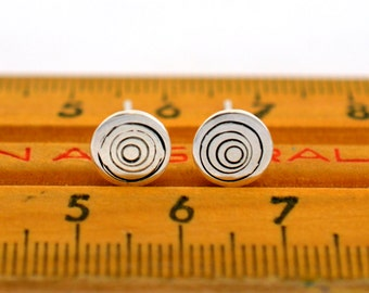 Concentric Circle Studs - Sterling Silver Post Earrings