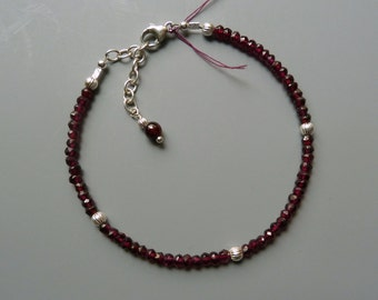 Red Garnet Bracelet, Gemstone Stacking Bracelet, Red Gemstone Layering Bracelet, Delicate Bracelet, January Birthstone Gift, Holiday Gift