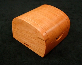 Cherry Wood Solitaire Ring Box