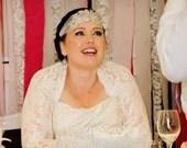 Wedding Bolero, BRIDAL Cover Up, Bridal Shrug,  with Gathered Cuff