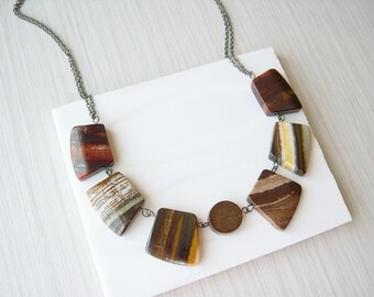 Stone Bib Statement Necklace, Brown Wood Jewelry, Semiprecious, Natural, Autumn, Grey, Rust, Yellow, Cleopatra, Tiger Iron