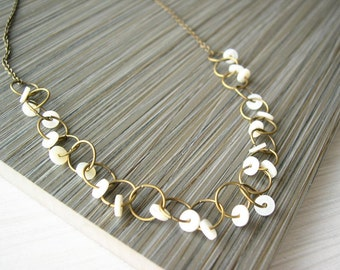 Mother of Pearl Necklace - Brass Jewelry, Bridal, Cream, Wedding Accessory, Modern, Unusual, Gold Tone, Contemporary, Sequin, Vintage Beads