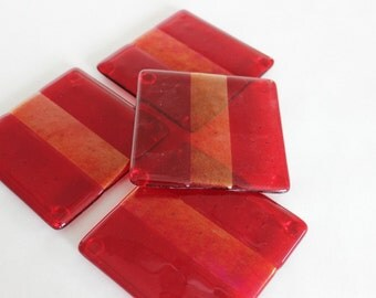 FUSED GLASS COASTERS - Red Gold Metallic Coasters, Under 25, Bridal Shower Gift, Hostess Gift, Fancy Drink Coasters, Set of Coasters, Red