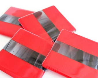 FUSED GLASS COASTERS -Black  Red Drink Coasters, Under 25, Fused Glass, Wedding Gift, Bridal Shower Gift, Red Black Coasters, Set of 4