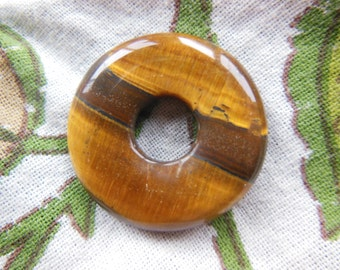 SALE All Natural Golden Tiger eye Drilled Donut 31mm Infinity Pi stones Healing Reiki Nursing necklace bead only Chrysotile