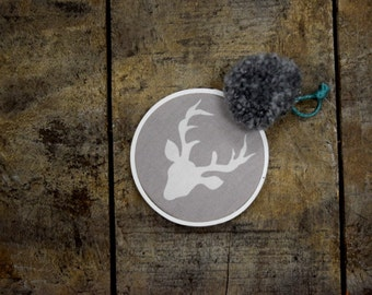 Hoop Art, Deer, Minimalist,  Nursery, Baby's Room, Wall Art, 3  Inch Hoop, Decorative Art, New Craft, Handmade, pom pom