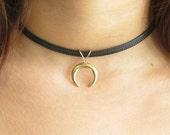 choker necklace,gold choker,black choker,moon necklace,choker necklace gold,crescent moon necklace,choker collar,choker,double horn necklace