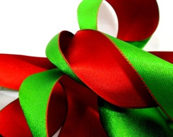 Christmas Ribbon - Reversible Red & Green Lush Satin Wired Edge Double-Sided