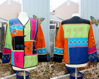 1990's Multicolored Jacket Funky Tribal Artsy Vintage Retro 80s Hipster Ugly Awesome Medium-Large  Patchwork Embellished Embroidery