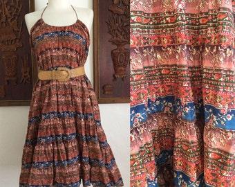 Vintage Indian / Bohemian / Sequin Detail / Halter / Day / Sun Dress / Large