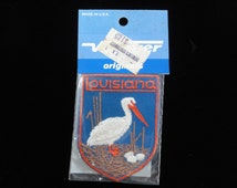 Louisiana Patch- Vintage 70s Voyager Patch- Pelican Bird Sew On Patch- Vintage Patch Applique- Travel Souvenir- Deadstock New Old Stock