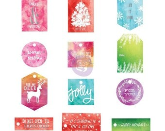 Prima Sweet Peppermint Collection WATERCOLOR RESIST TAGS Christmas