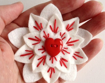 Valentine's Felt Lapel Pin Sacred Heart White with Red Heart Button and Embroidery - Handmade Corazón en Llamas