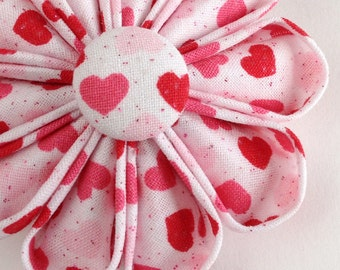 Flower Brooch Valentine Hearts in Sweet  Pink, Red and White