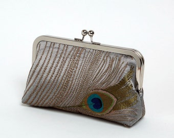 Peacock Feathers Silk Embroidered, Wedding clutch, Bride clutch, Evening purse, Bridesmaid clutch, Bag Noir