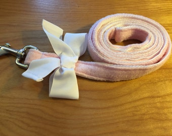 Sale pastel pink fleece Dog Leash with bow trim, dog leashes, made in USA