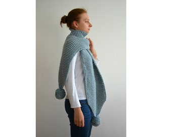 READY TO SHIP The Pom. Large Oversized Super Chunky Alpaca Wool Scarf with Pompoms. Light Grey Green