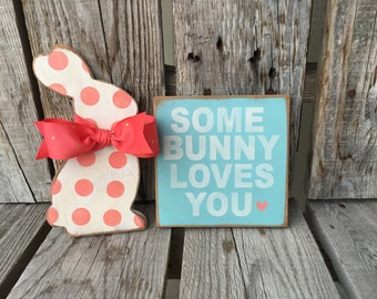 Easter bunny egg spring hand painted handmade wood sign home seasonal decor gift photo prop