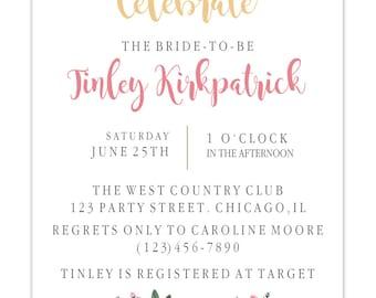 PRINTABLE simple floral bridal shower invitation