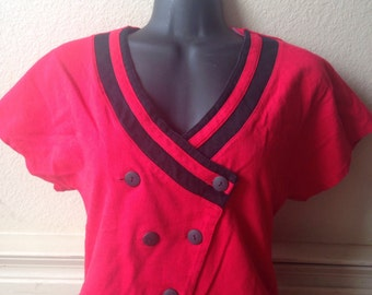Awesome eighties women's red crop top size small