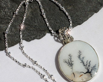 Fernwood  - Dendritic Agate Sterling Silver Necklace