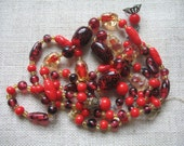 Vintage Glass Beads ~ Repair ~ Reuse ~ Supply ~ Bright Red Glass Beads