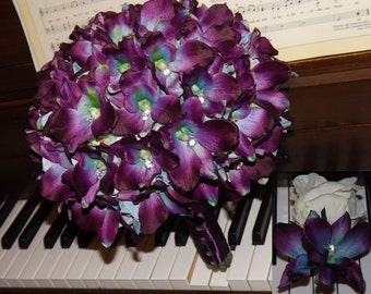 Blue galaxy orchid bouquet with clear crystal accents, bridal package, boutonniere, choose your orchid