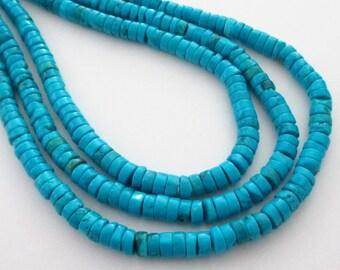 "Turquoise Disc Heishi Beads - Bright Blue Disk Beads - Howlite Gemstone - Round Column Coin Bead - 6mmx3mm - 16"" Strand - DIY Jewelry Making"