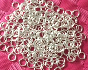 Silver Jump Rings - Silver Plated Round Jumprings - 8mm - Nickel Free  -44g. 220 PCS - 18 guage - Bright Silver - DIY Jewelry Findings