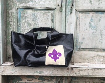 Handmade Black Leather French Market Bag with  Custom Purple Embroidered Fleur de Lis Exterior Cell Phone Pocket