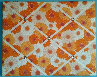 Orange and white flower print french memo board, 16 x 20