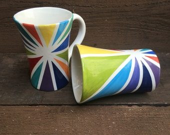 Colorful Starburst - 26-28 oz. Capacity - Handpainted XL Ceramic Coffee Mug - Rainbow Colors