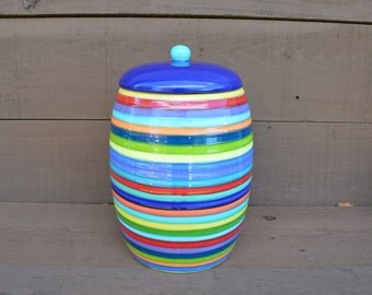 Colorful Extra Large Ceramic Cookie Jar or Canister - Rainbow Colored Stripes - Dark Royal Blue Lid with Bright Teal Knob - Yellow Interior