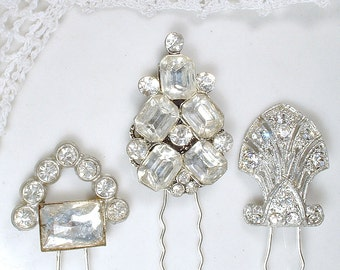 1 Art Deco Paste Rhinestone Wedding Hair Pin Antique 1920 Hair Pick Bridal Accessory Silver Gatsby Flapper Small HairPiece Fork Stick CHOICE