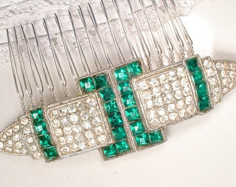 Original 1920s Emerald Hair Comb OR Sash Brooch Antique Art Deco Green Rhinestone Pave Crystal Gatsby Bridal Sash Pin OOAK Wedding HairPiece