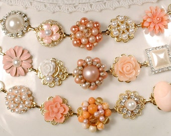 Peach & Ivory Bridesmaid Bracelet Set 3 4 5 6 7, OOAK Pearl Rhinestone Gold Vintage Wedding Earring Bracelets Gifts Rustic Chic Flower Coral