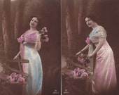 ON SALE Original Price 15.00 Lot of 2 Edwardian Lady in Pink & Blue in Woods with Pink Flowers Original Photo Postcard Rare...early 1900s