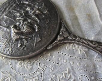 Vintage Unique Pewter Silver Hand Held Vanity Small Mirror