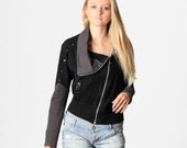 Black sweatshirt jacket asymmetrical zipper and silver studs