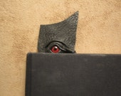 Grichels leather bookmark - black with red eye