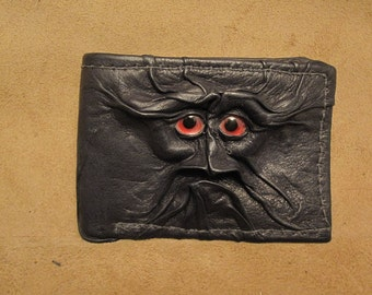 Grichels leather bi-fold wallet - black with custom red and silver metallic eyes