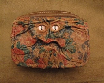 Grichels leather belt pouch - tan floral print with custom metallic pink slit pupil eyes