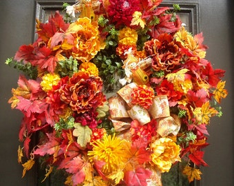 Fall Wreaths For Front Door, Fall Wreaths, Scarecrow Wreath, Floral Door Wreath, Harvest Decor, Fall Decorations, Autumn Wreath