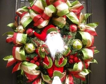 Santa Christmas Wreath, Wreaths For Christmas, Santa Wreath Decor, Red Green and Gold, Door Wreaths, Jingle All The Way