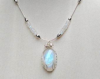 Moonstone and Sterling Station Necklace